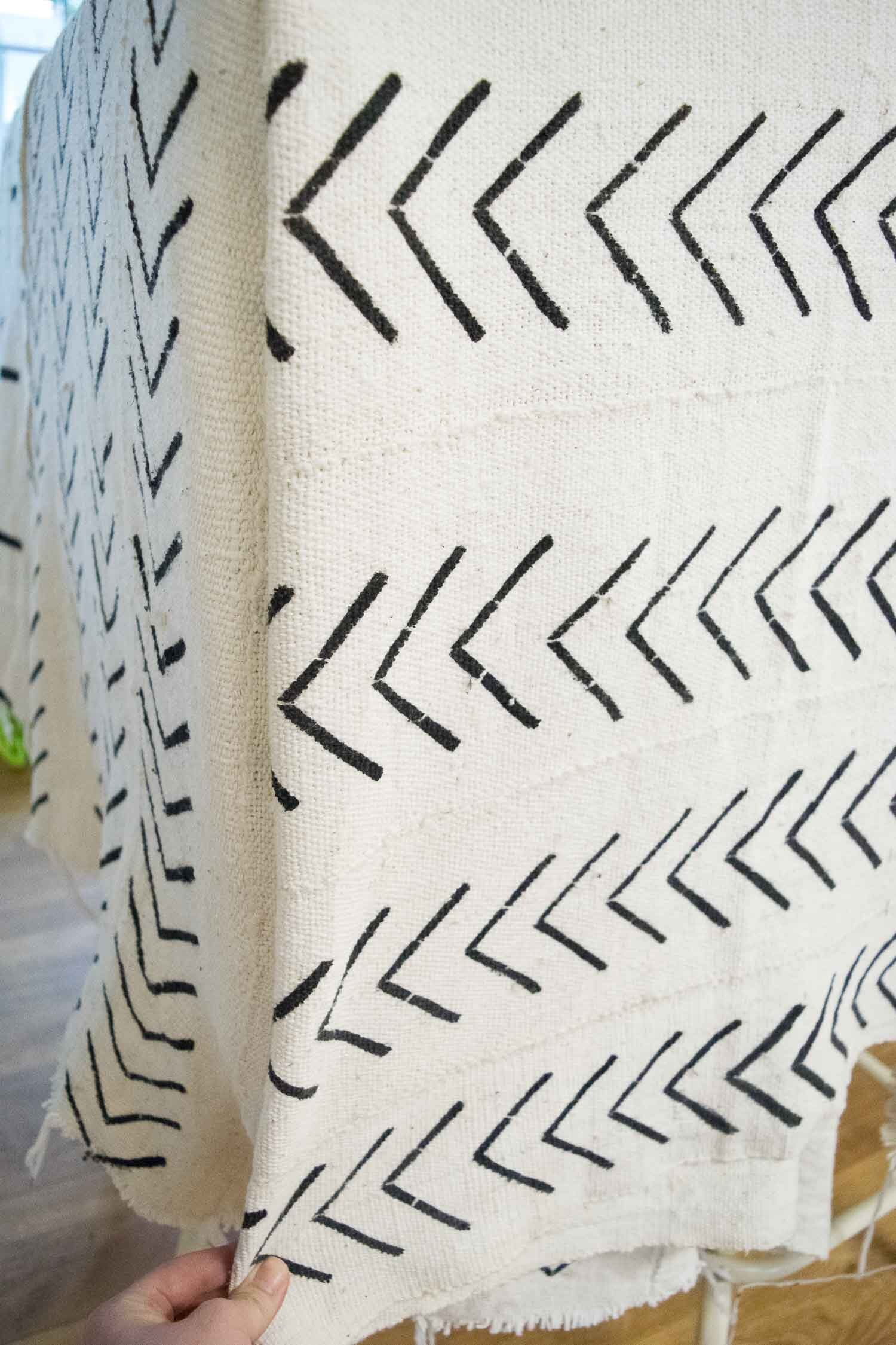 Installing the fabric for a DIY Boho Mud Cloth Ottoman   Designed by This Giant Life