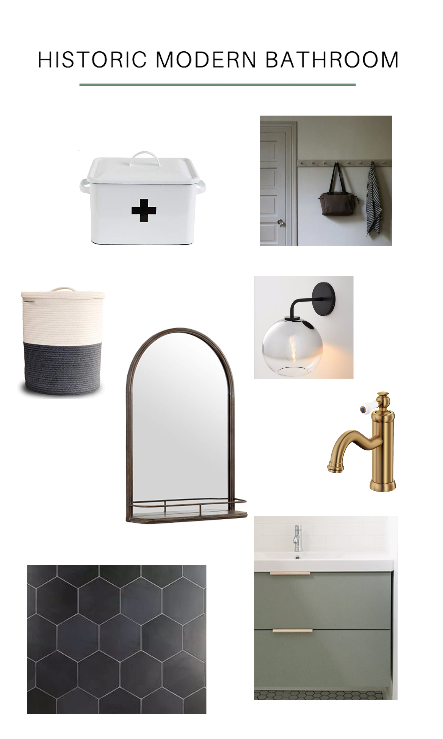 The $1,500 Historic Modern Bathroom Plan with black hexagon floors, ikea vanity, and modern matte black lights    designed by DIY & Home Bloggers This Giant Life #moodboard #bathroominspo
