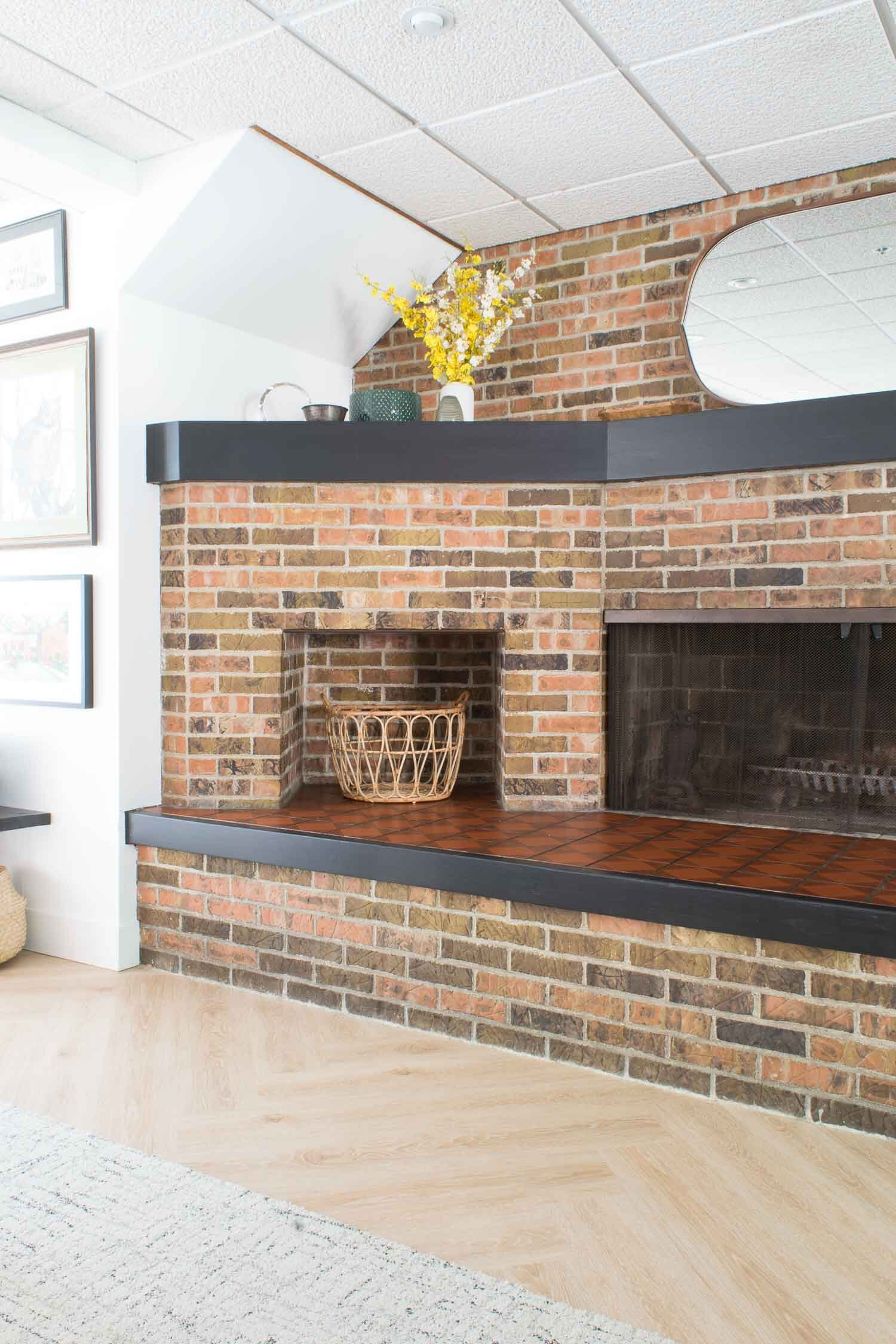 A Modern Cement Tile Stenciled Fireplace (+ Easy Tutorial) at this Umass Amherst Chi Omega Sorority House | Designed by This Giant Life