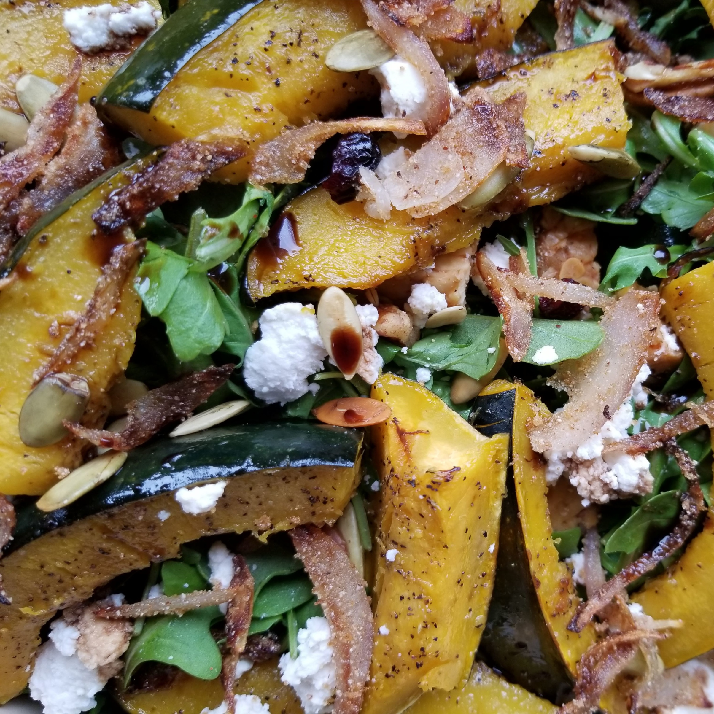 Roasted squash salad with crispy shallots and balsamic reduction  (vegan)