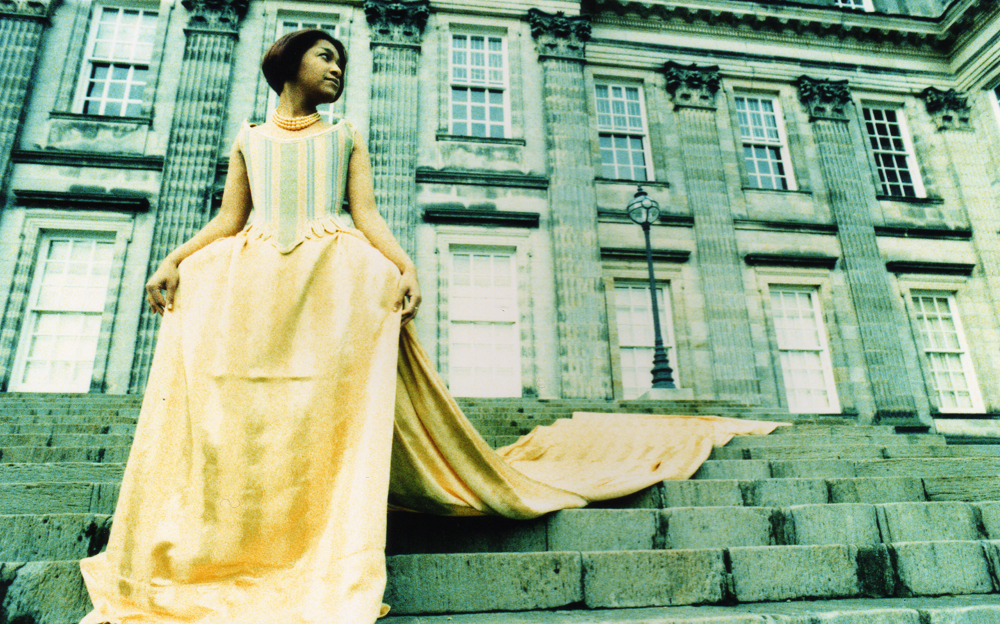 Canary Corseted mock 18th century ball gown - full front but off colour image on steps  - photo.jpg