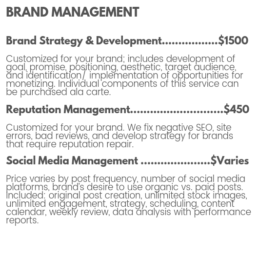 Brand management pricing for brand strategy and brand development, reputation management, and social media management by The MotoDoll LLC.