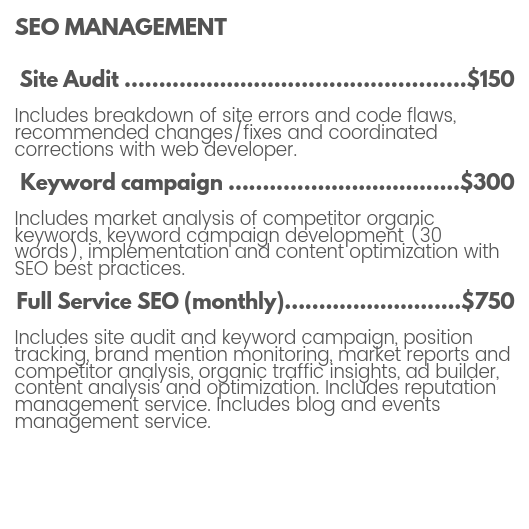 SEO management pricing for site audit, keyword campaign, backlink and external link strategy, position tracking, brand mentions, and market analysis by The MotoDoll LLC.