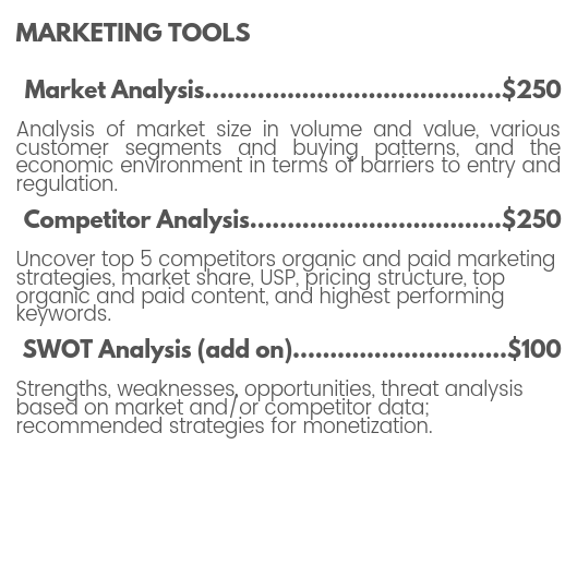 Marketing tools pricing for market analysis, competitor analysis, SWOT analysis, brand positioning, unique selling proposition, organic and paid advertising by The MotoDoll LLC.