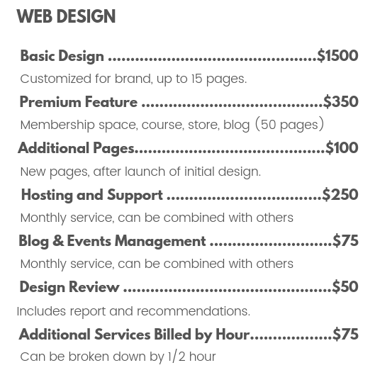 Web design prices for website, course, store, blog, hosting, and support by The MotoDoll LLC.