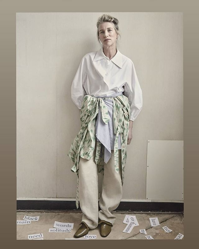 Véronique Leroy white shirt and green and beige printed coat #ss19  @vogueitaliaonline Photographer @melanierey Stylist @julienivert