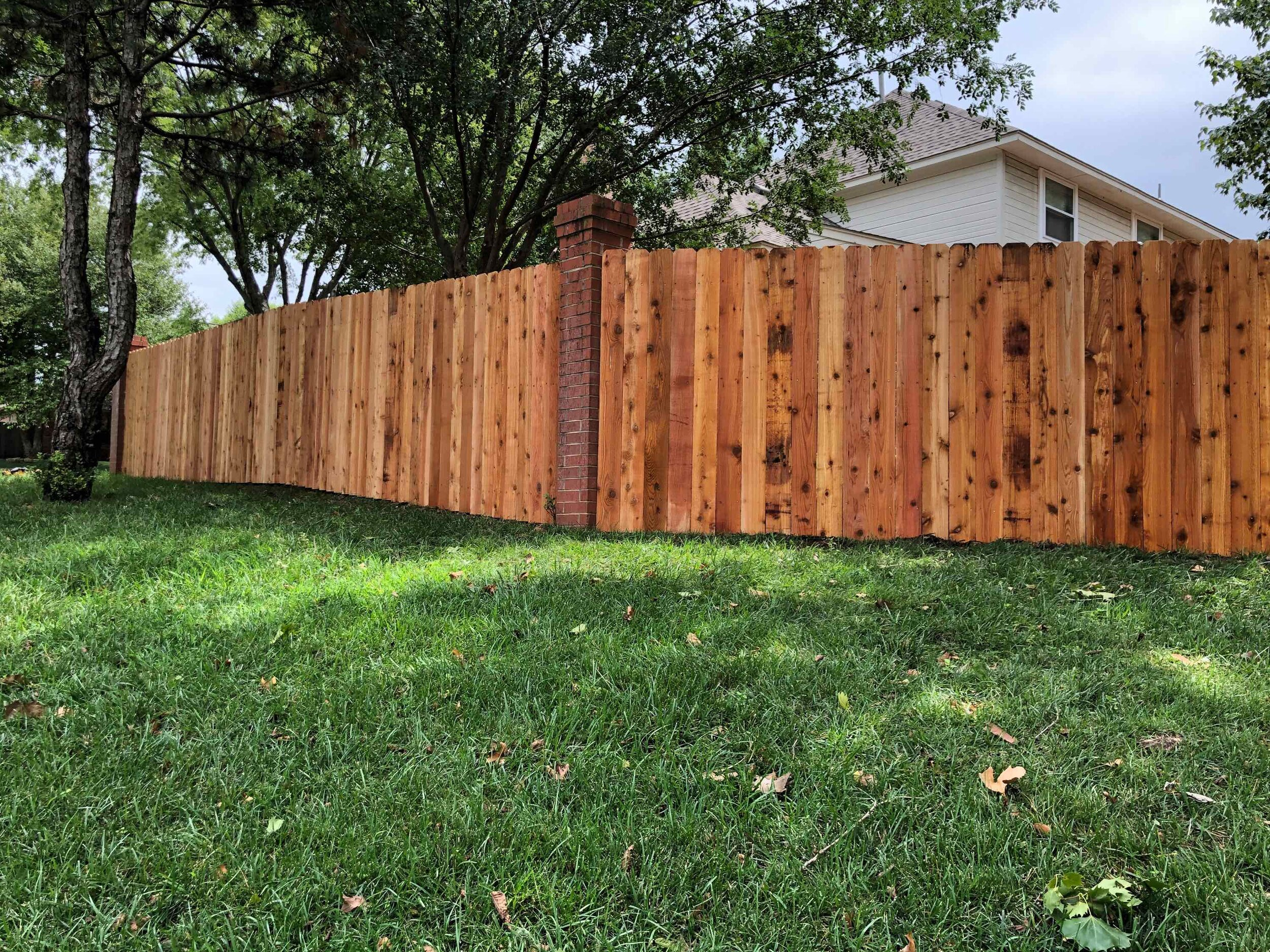 "Beautiful cedar fence with 6"" pickets"