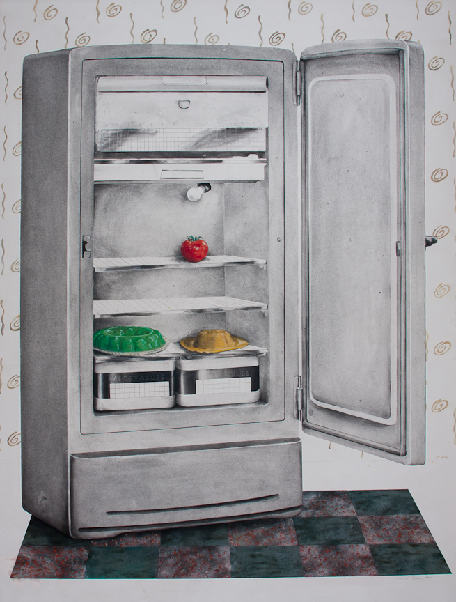 """Good Housekeeping: Fridge   Charcoal, pastel, collage, on paper  51"""" x 38"""""""