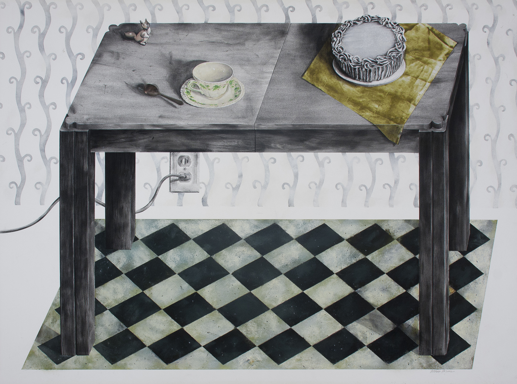 """Good Housekeeping: Iowa circa 1952   (table)   Charcoal, pastel, collage, spoon, on paper  38"""" x 51"""""""