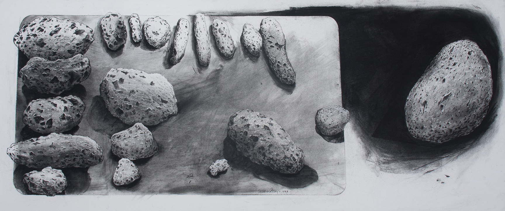 """Untitled (Volcanic Rocks)   Charcoal, on paper  20"""" x 50"""""""