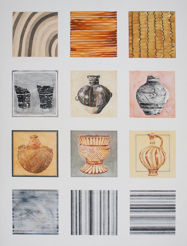 """A Preliminary Ethnography of the Stripe, Part 2   Charcoal, pastel, watercolor, graphite, collage, on paper  40"""" x 30"""""""