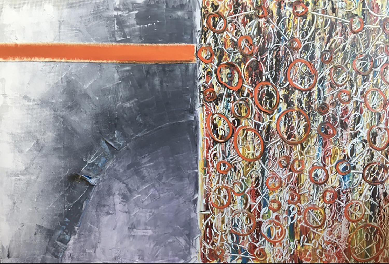 "Orange - Oil on canvas + tape, bands - 30""x 24"""