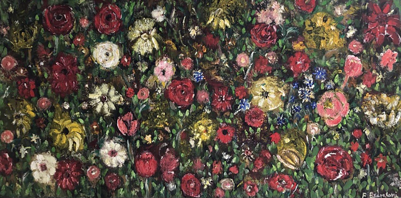 "Flowers - Oil on canvas - 40""x 20"""