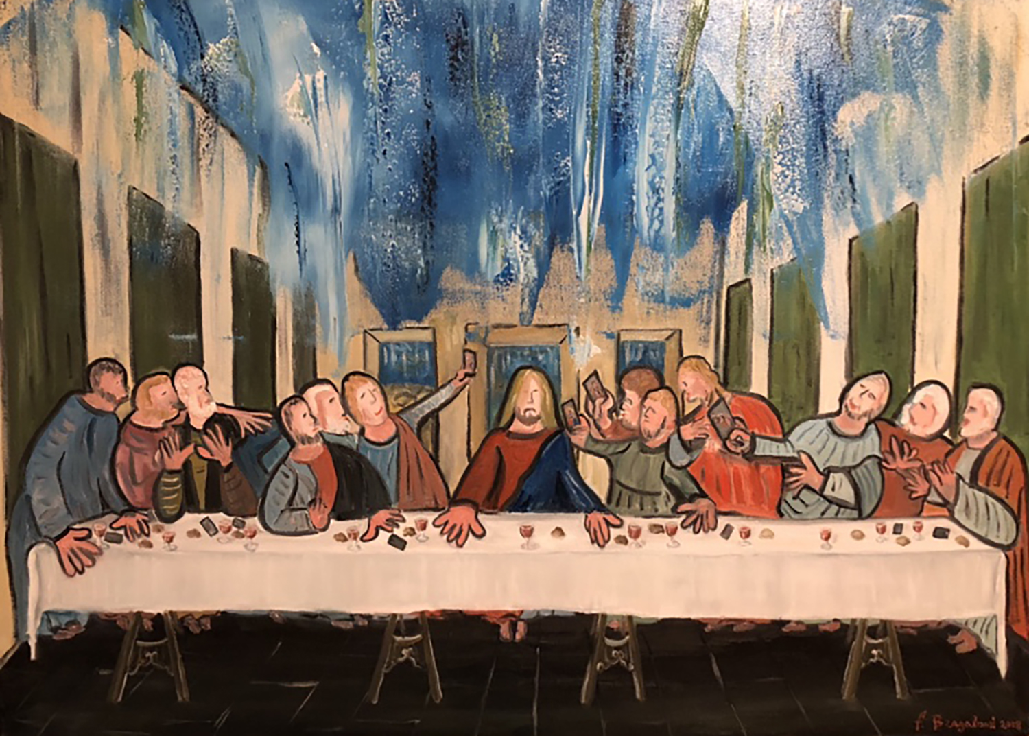 """Last supper latest pictures - Oil on canvas 40""""x 30"""""""