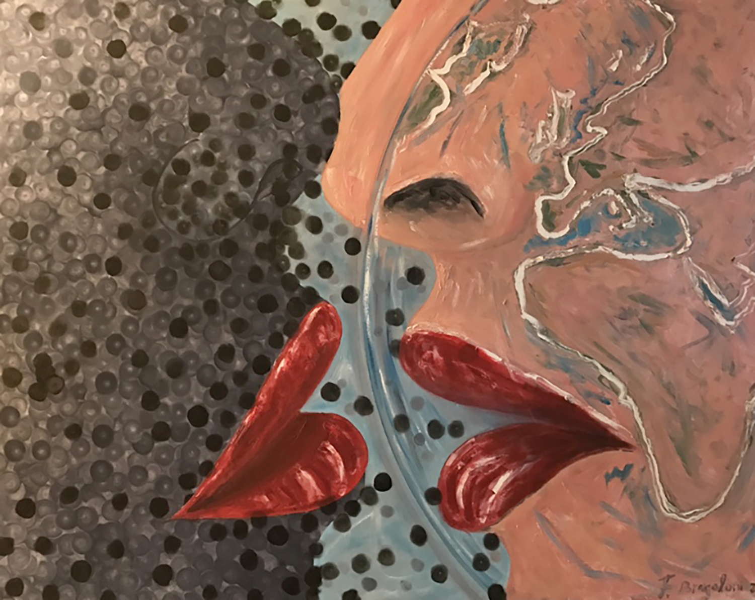 """Face with face with Pollution - Oil on canvas - 70""""x 50"""""""