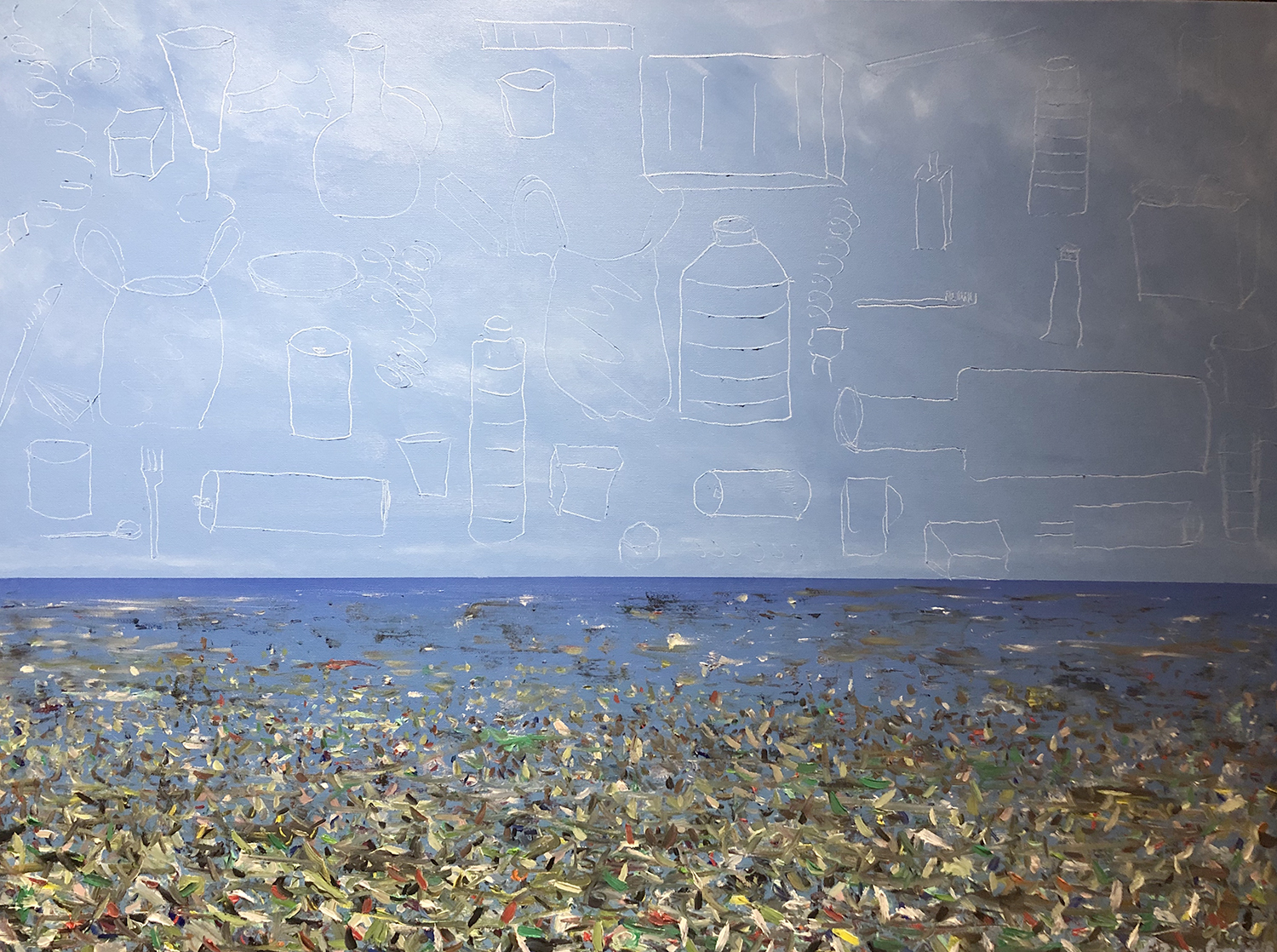 """The oceans and the plastic - Oil on canvas - 40""""x 30"""""""