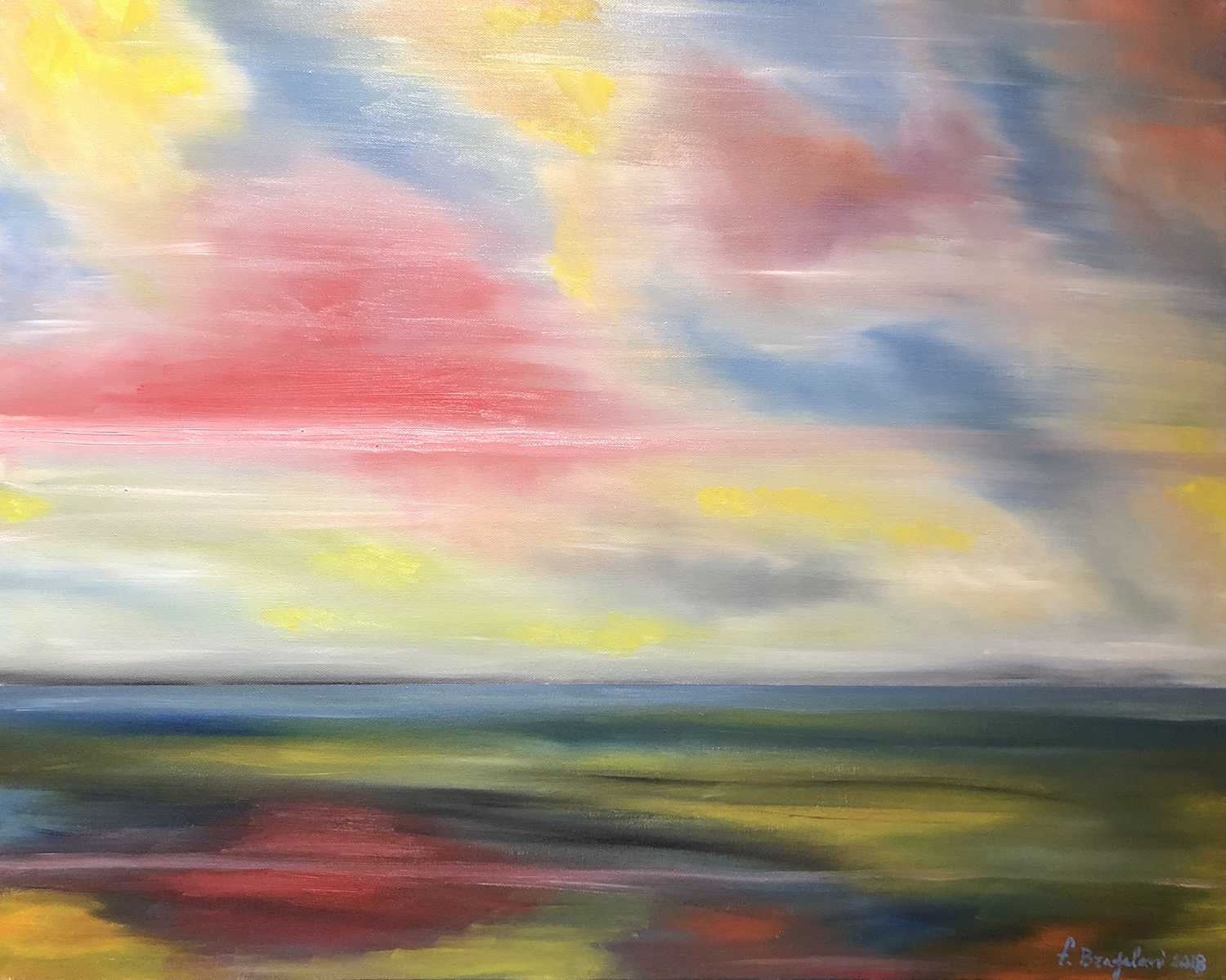 """Abstract sunset - Oil on canvas - 30""""x 24"""""""