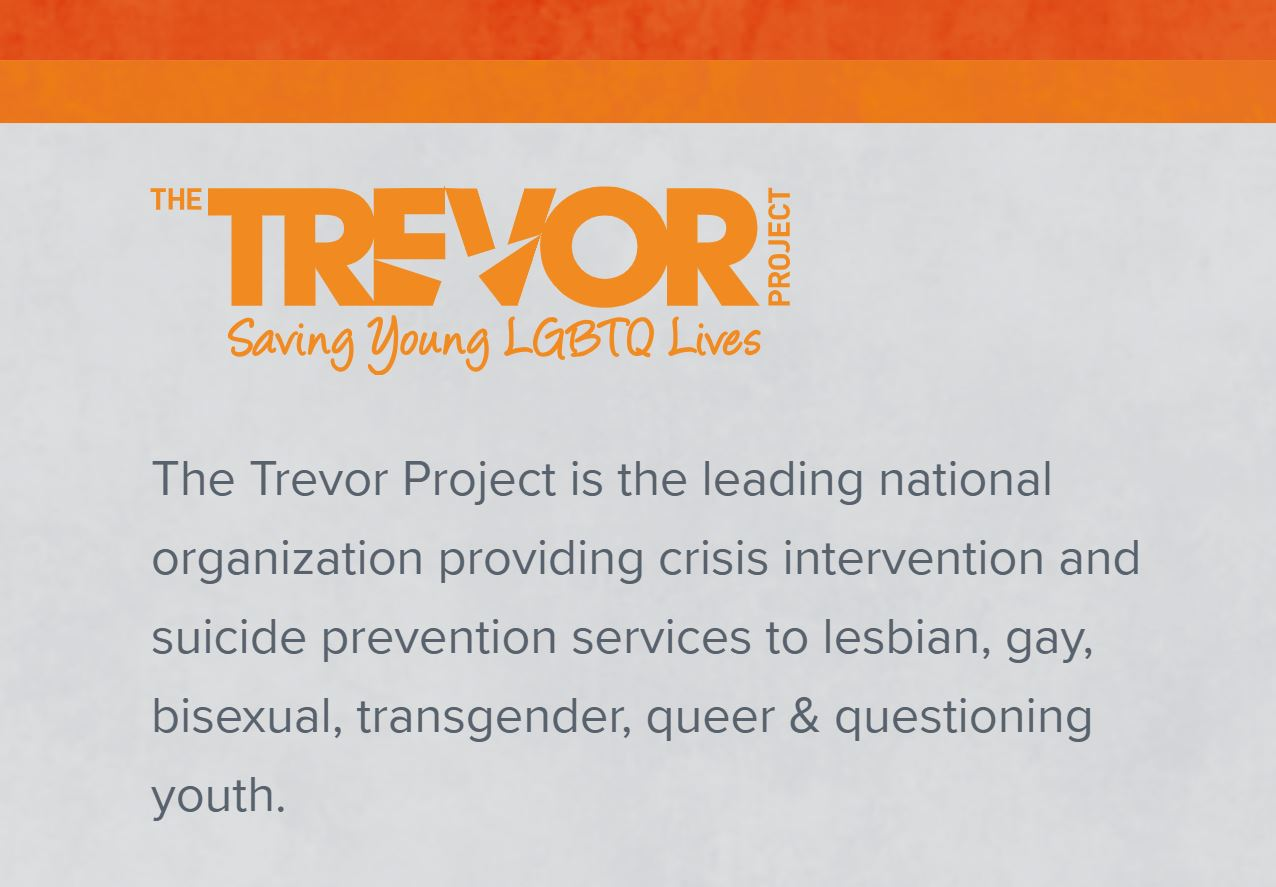 The Trevor Project - 24/7 support:1-866-488-7386
