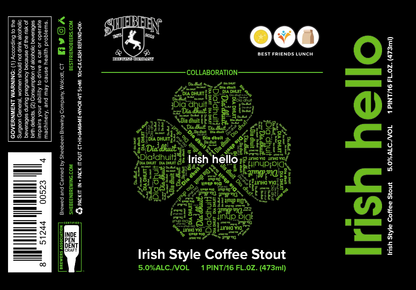 IRISH HELLO  Rich creamy head. Roasty with Sacred Grounds coffee leads with hints of vanilla .