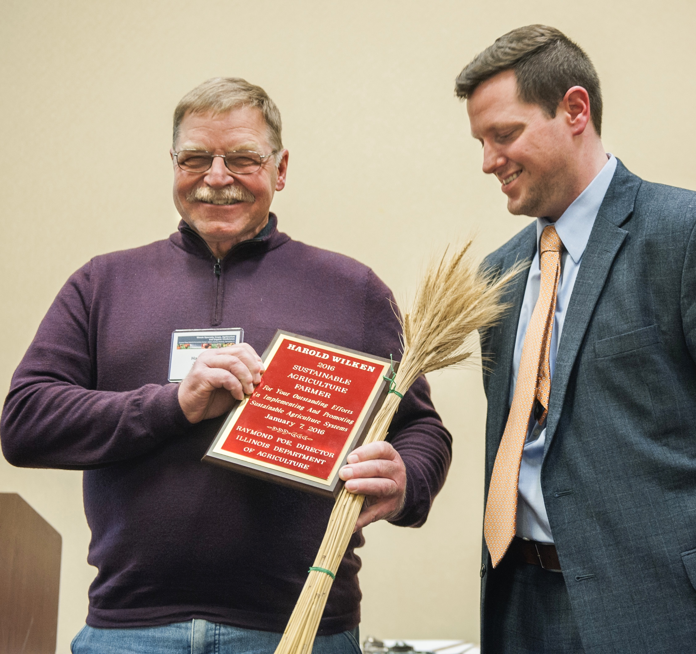 Harold Wilken was honored with the R. J. Vollmer Award by the Illinois Department of Agriculture .