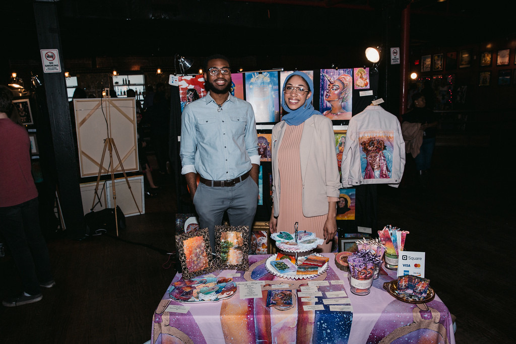 freckledhijabi at a raw artist art show.