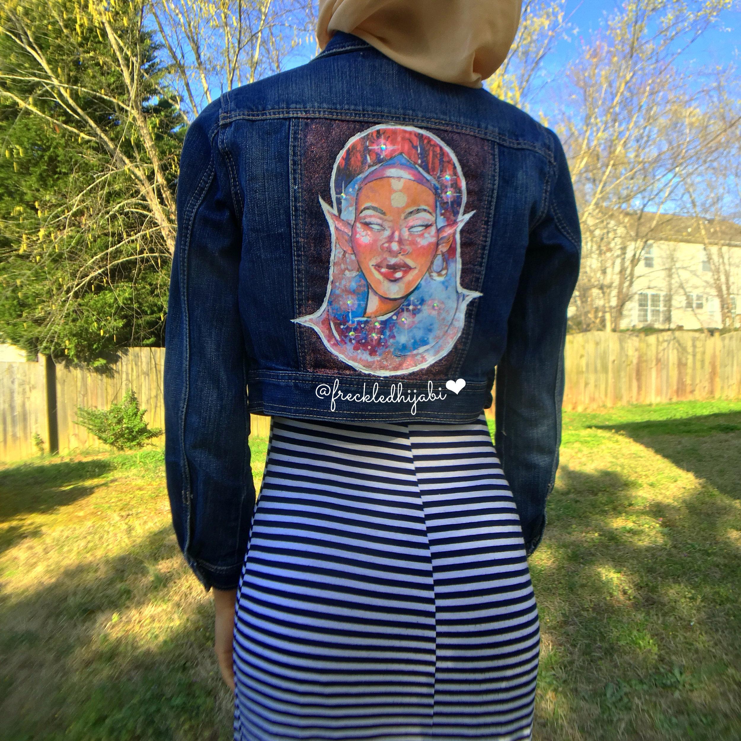 Aqilla printed on a jacket
