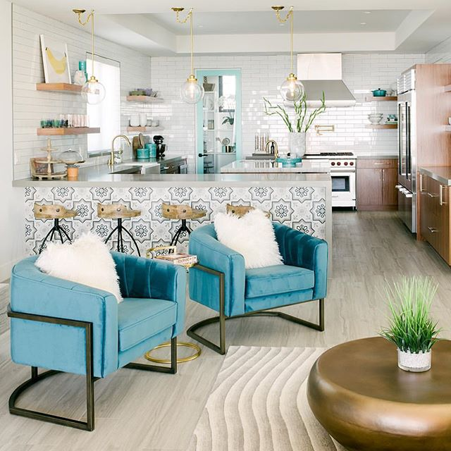 We love these funky chairs + those tiles. 😍 - REPOST @shryne_design: Perfect blend of coastal & contemporary. I love with how this client's home came out...everthing from the full tile walls, floating shelves, to the Tiffany blue pantry door. 📸 by @laurenpressey