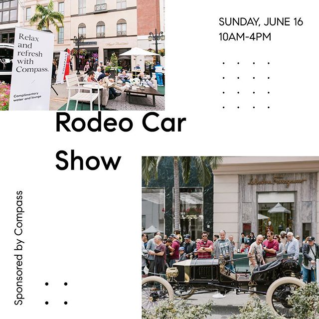 A Father's Day tradition for 26 years, the annual Rodeo Drive car show. It's free and open to every classic car lovers - this year the event will celebrate 100 legendary years of British marque Bentley. So come on by and check these cars out. #carshow #bentley #rodeodrive #rodeocarshow #beverlyhills #compass
