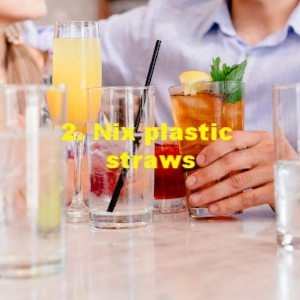 2. Nix plastic straws - Supply reusable or biodegradable straws for your guests.Single-use plastics are a major ocean pollutant. The journal Science found that we humans generated 275 million metric tons of plastic waste in one year, of which 4.8 million to 12.7 million metric tons gets into the oceans, mostly washing into the sea from land and rivers. Plastic doesn't biodegrade. It merely breaks down into microplastics which can be carcinogenic and also attract pollutants. They get consumed by wildlife, posing threats of toxicity and starvation. Fishing nets and soda rings can strangle, straws can impale. And the plastics work their way up the food chain and onto our plates.Single-use plastics like bags and straws really became popular in the 1960s and '70s for their cheapness and convenience. But if usage trends continue, there may be more plastic than fish in the ocean by 2050. Nixing straws won't solve the problem. But it's a gateway conversation and a starting point in the restructuring of our plastics usage.