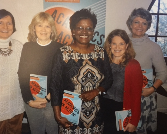 Academics in Action! launch (2016) (HOD Dept. Chair Beth Shinn, Co-Editors: Nina Martin, Sandra Barnes, and Allison McGuire, and Peabody College Dean Camilla Benbow)