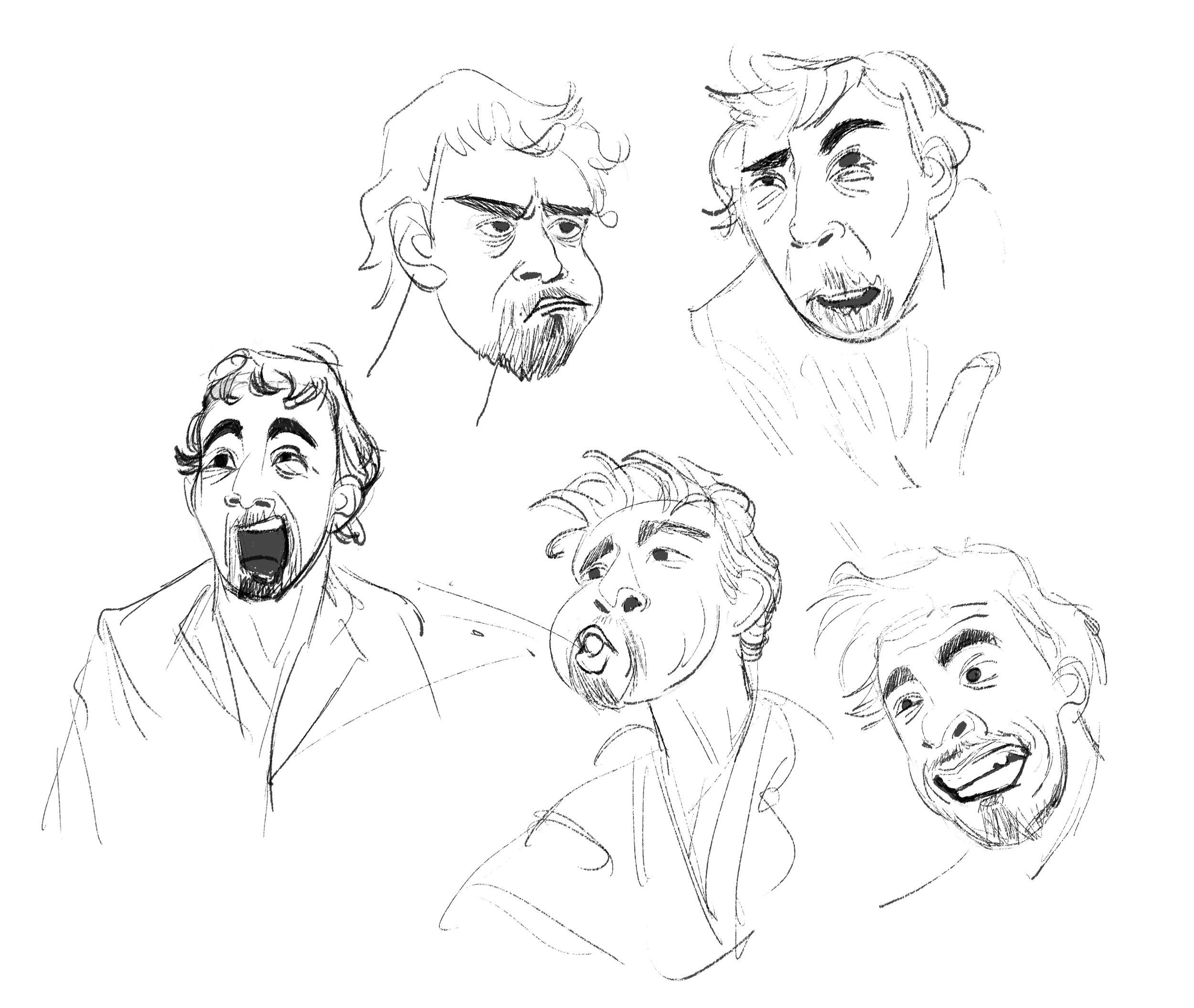 Caricature studies from Umbrella Academy