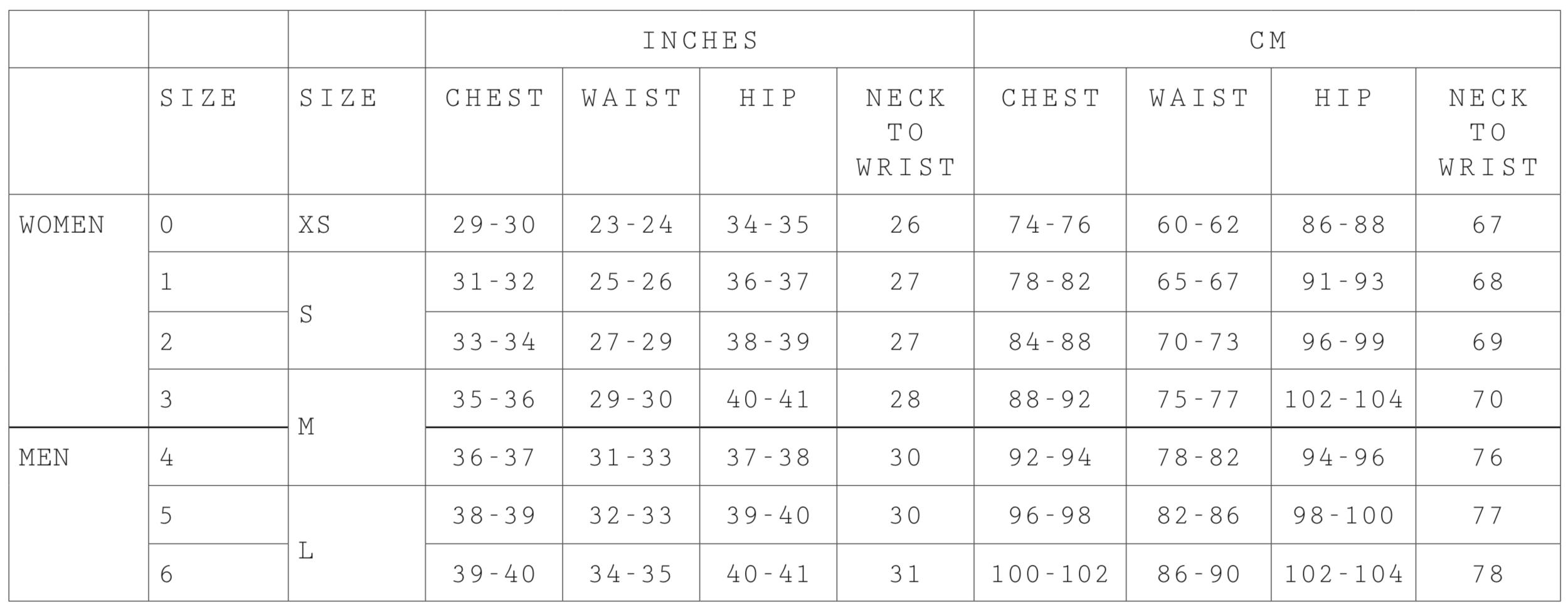 Size 0: Shoulders 40cm Length 107cm  Size 1: Shoulders 43cm Length 109cm  Size 2: Shoulders 46cm Length 111cm  Size 3: Shoulders 49cm Length 113cm