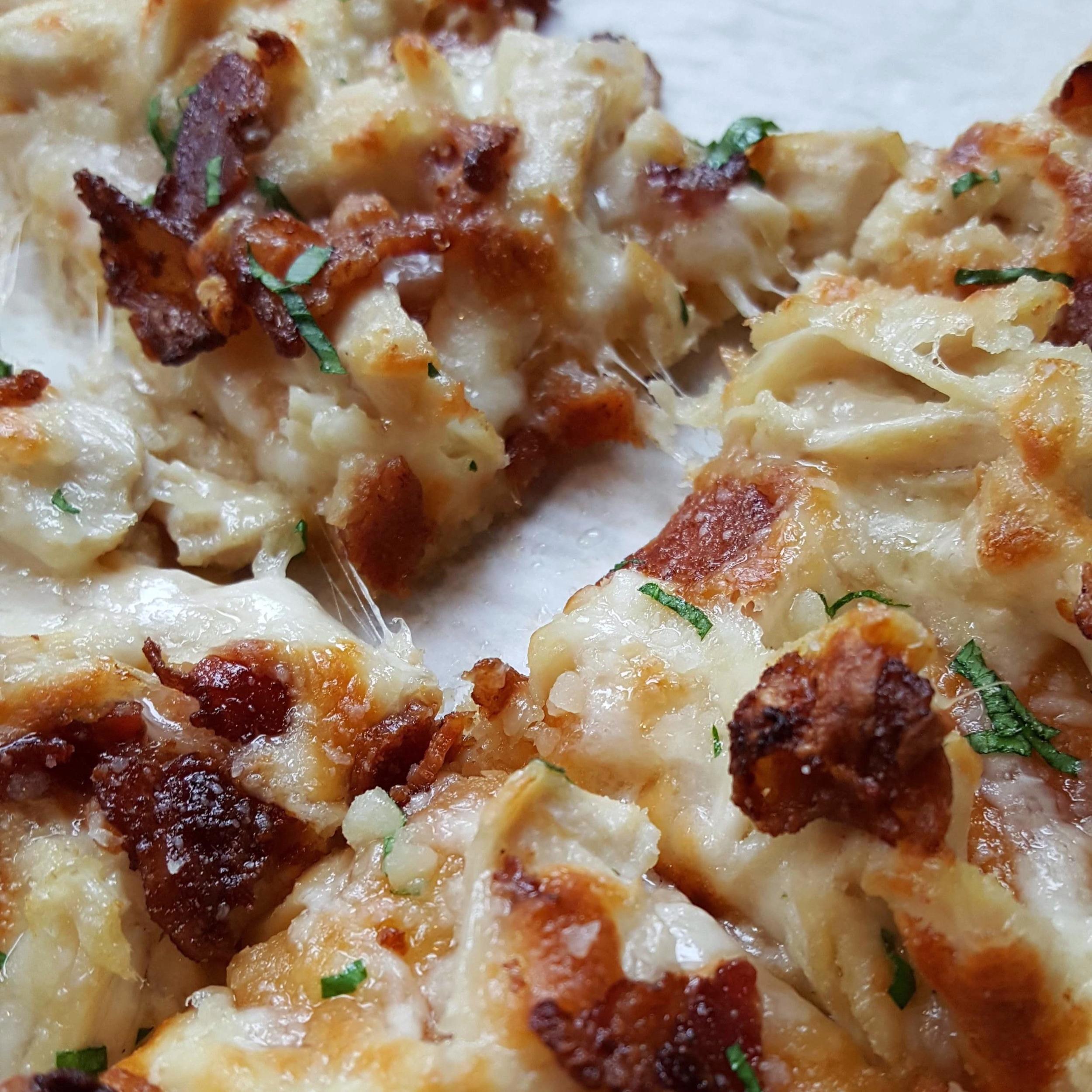 - garlic chicken flatbread