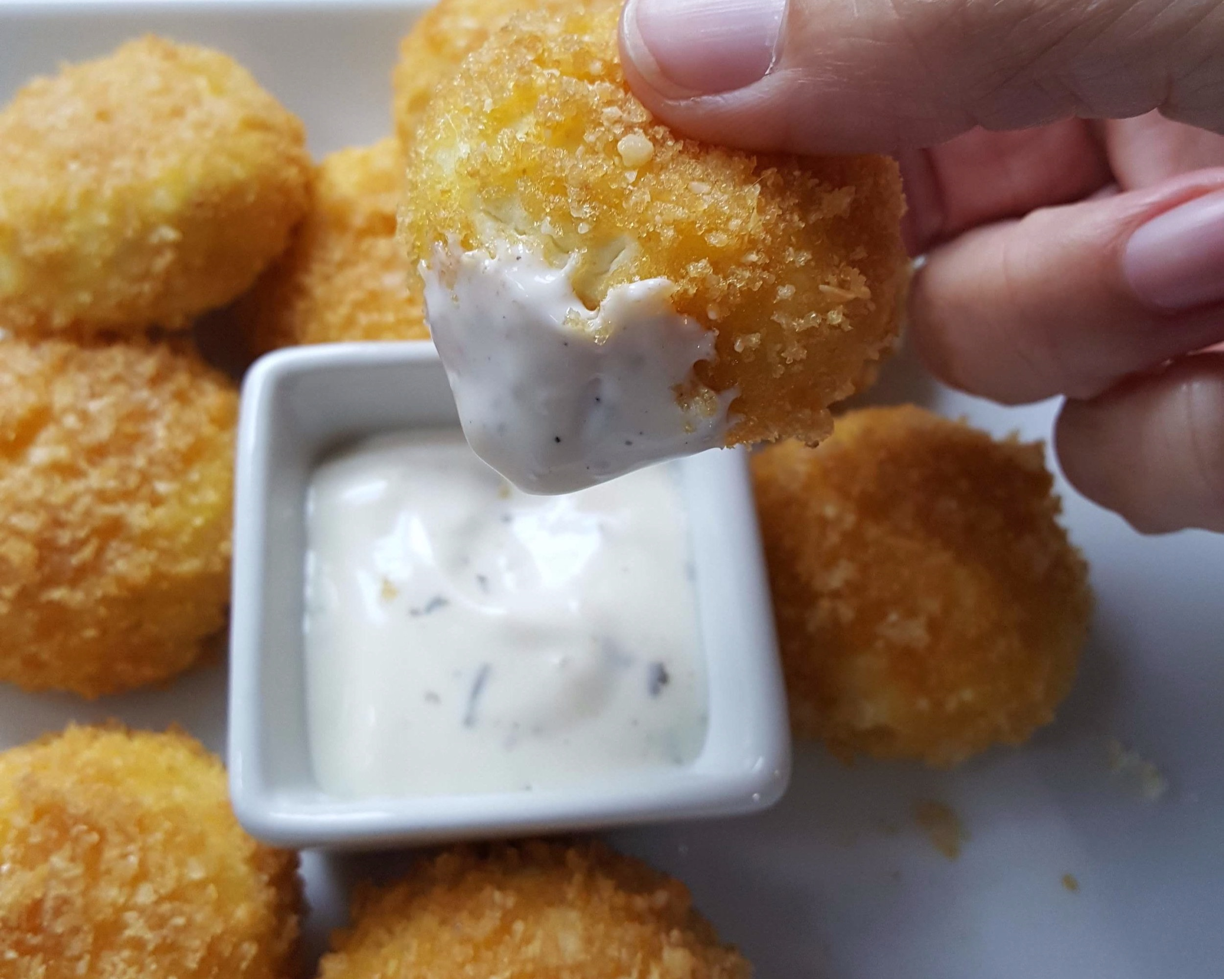 Crispy goat cheese dipped in ranch.