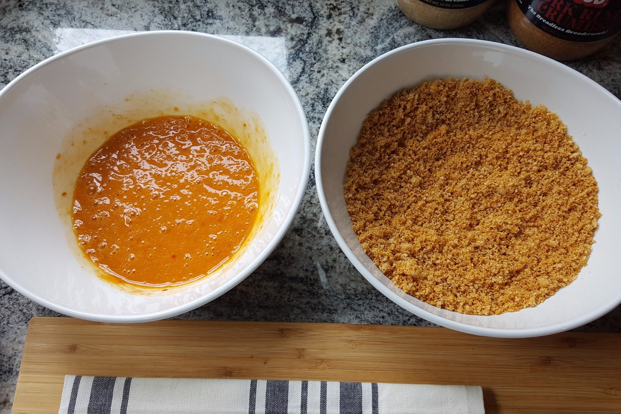 Egg and hot sauce, bread crumb mixture. Ready for chicken!