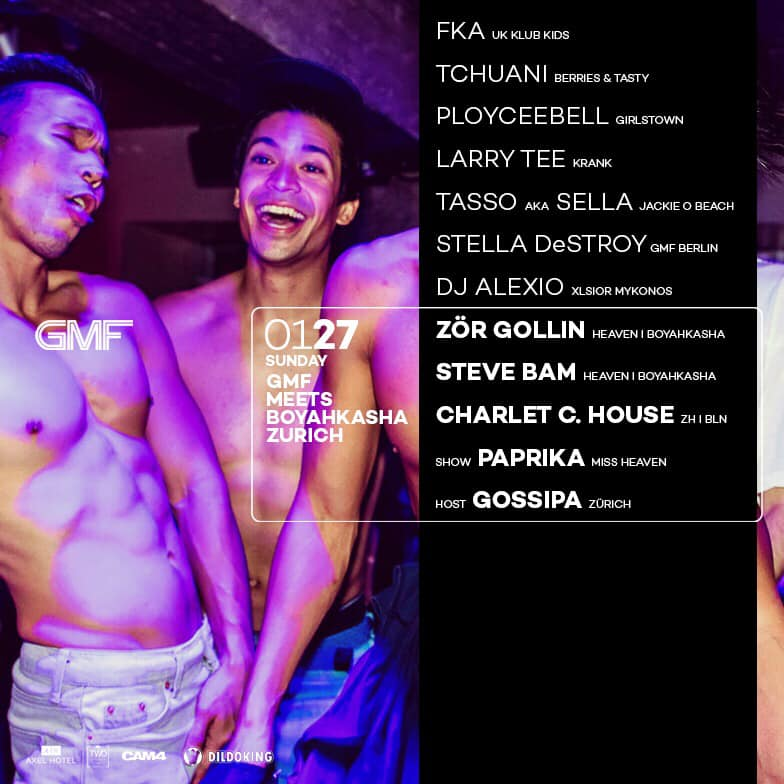 """GMF   Every Sunday night from 11 p.m Weekend Club welcomes the Berlin queer party institution """"GMF"""". GMF, now in it's 23rd year, has gained international acclaim through  It's diverse dancefloor sounds and live-performances. Drag Queens, Dandys, gym boys and Daddies—GMF hosts an eclectic and stylish party crowd.  Whether you are a pop/R&B fan or a tech house lover, GMF is the place for you.  View this event on Facebook  here."""