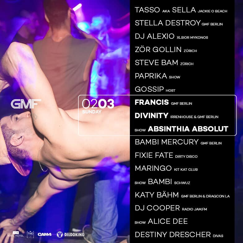 """GMF  Every Sunday night from 11 p.m Weekend Club welcomes the Berlin queer party institution """"GMF"""".  GMF, now in it's 23rd year, has gained international acclaim through  It's diverse dancefloor sounds and live-performances. Drag Queens,  Dandys, gym boys and Daddies—GMF hosts an eclectic and stylish party crowd.  Whether you are a pop/R&B fan or a tech house lover, GMF is the place for you."""