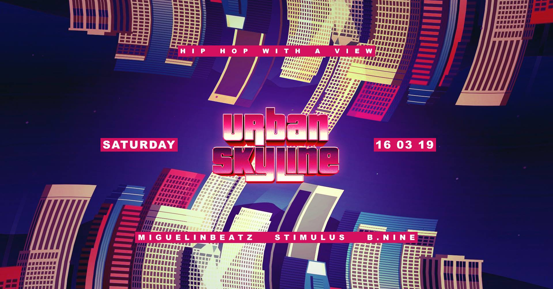 Urban Skyline  - Hip Hop With A View  We call it ,highest turn up in town'  Once a month we invite people to our Family & Friends meet up in our loving living room and they know what is expecting them. Greatest view over the City with bomb turn up vibes. We create an interaction with people on the dance floor and the DJ.