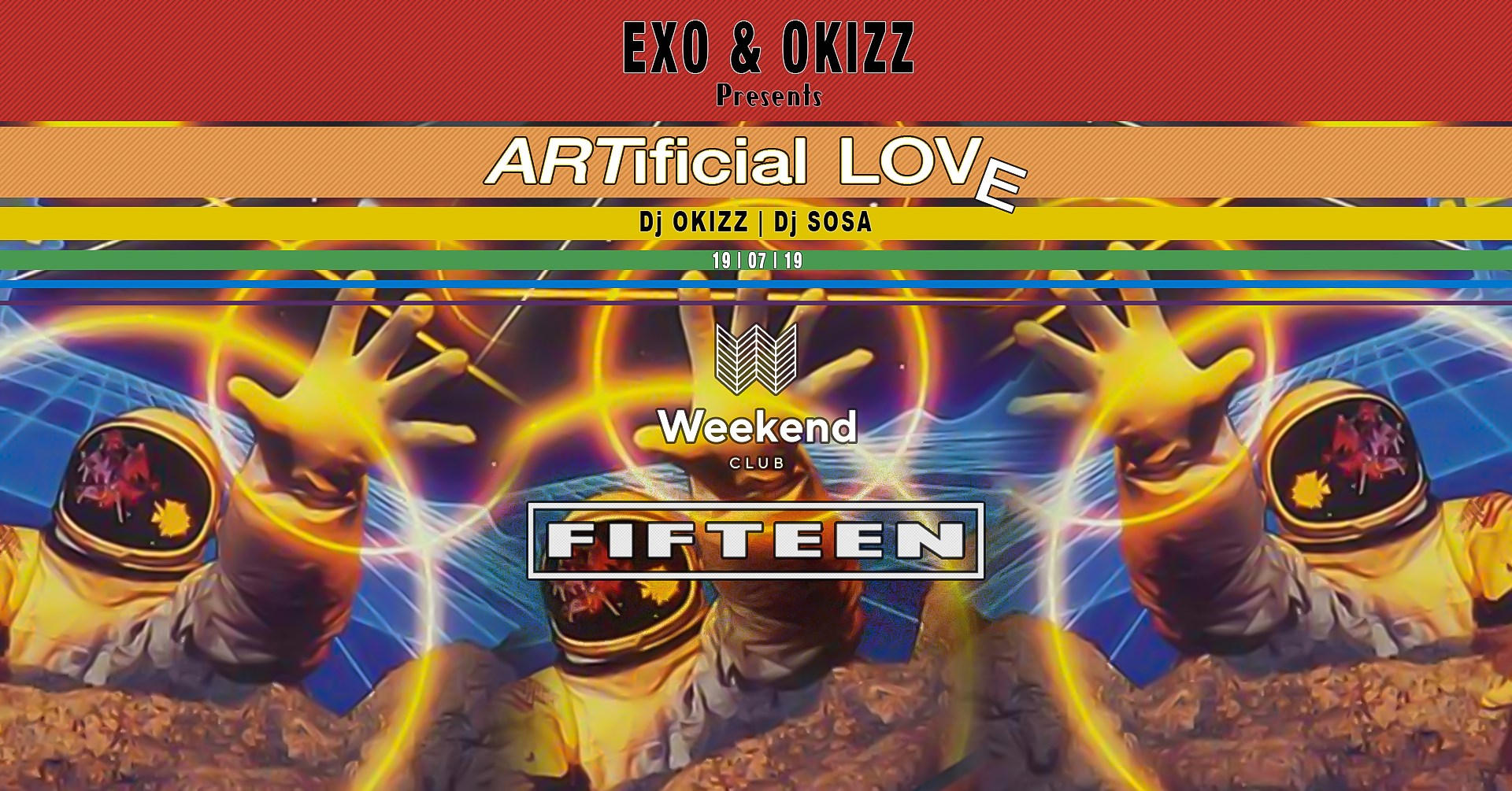 Fifteen pres. Artificial Love by Exo & Okizz  We want to create a spot for people with open minded visions of music & fashion. An esthetic look is an essential step to treat your body like it deserved. Be curious - be a part. Every Friday finest Hip Hop with best local and international DJs.