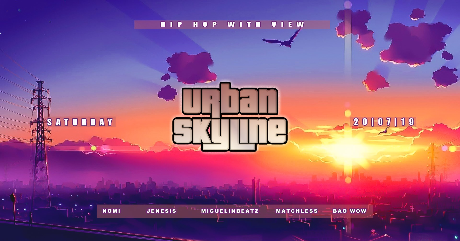Urban Skyline   We call it ,highest turn up in town'  Once a month we invite people to our Family & Friends meet up in our loving living room and they know what is expecting them. Greatest view over the City with bomb turn up vibes. We create an interaction with people on the dance floor and the DJ.
