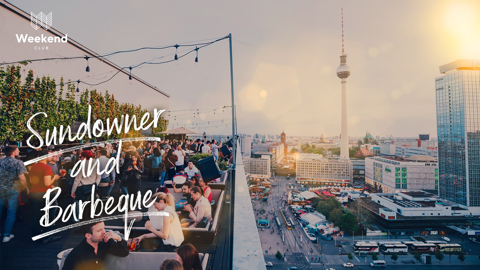 Enjoy Berlin's most beautiful sunset on the city's most popular rooftop! Dancing, chilling and enjoying delicious drinks and nice sounds!    Music by: STEPPI    Lovely Barbeque: Ricarda Farnbacher    Weekend Spritz & Frozen Daiquiri I 19-24 clock only 5 €