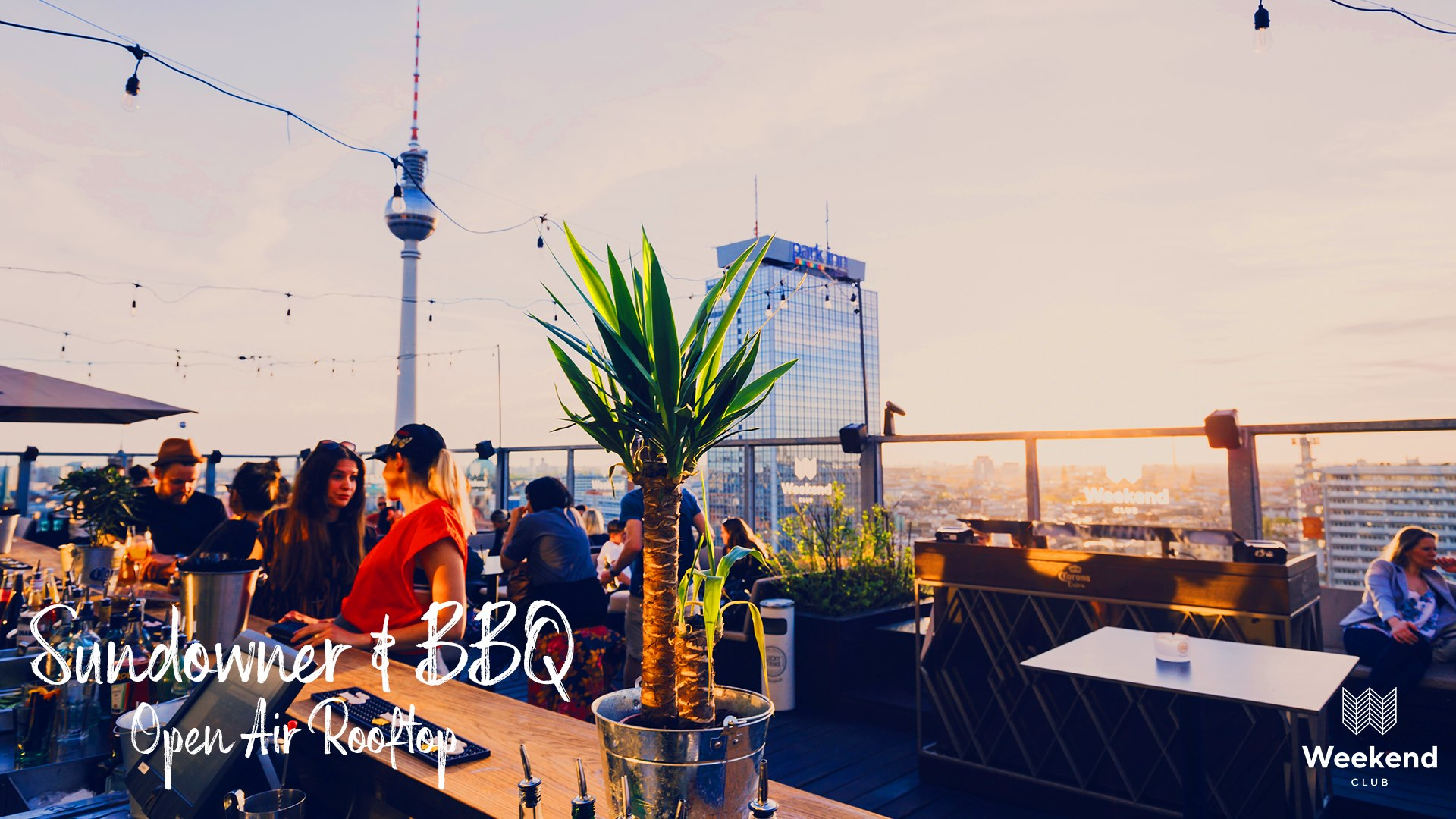 Enjoy with us  Berlin's  beautiful sunset on the most popular rooftop of the city!  Dancing,relaxing and enjoying delicious drinks!