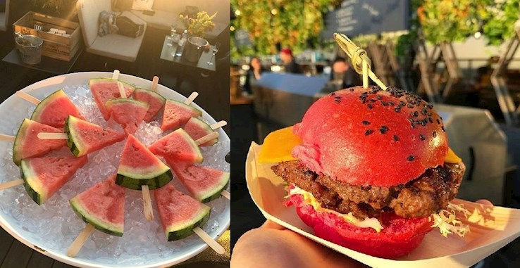 Pink BBQ. Summer Rooftop Party  On Wednesday, the clocks tick pink at our place.  Weekend Spritz, strawberry daiquiri, pink burger and iced vodka melon on a stick provide for your physical well-being and a rosy complexion.  House beats on the roof and the loft session from 23:00