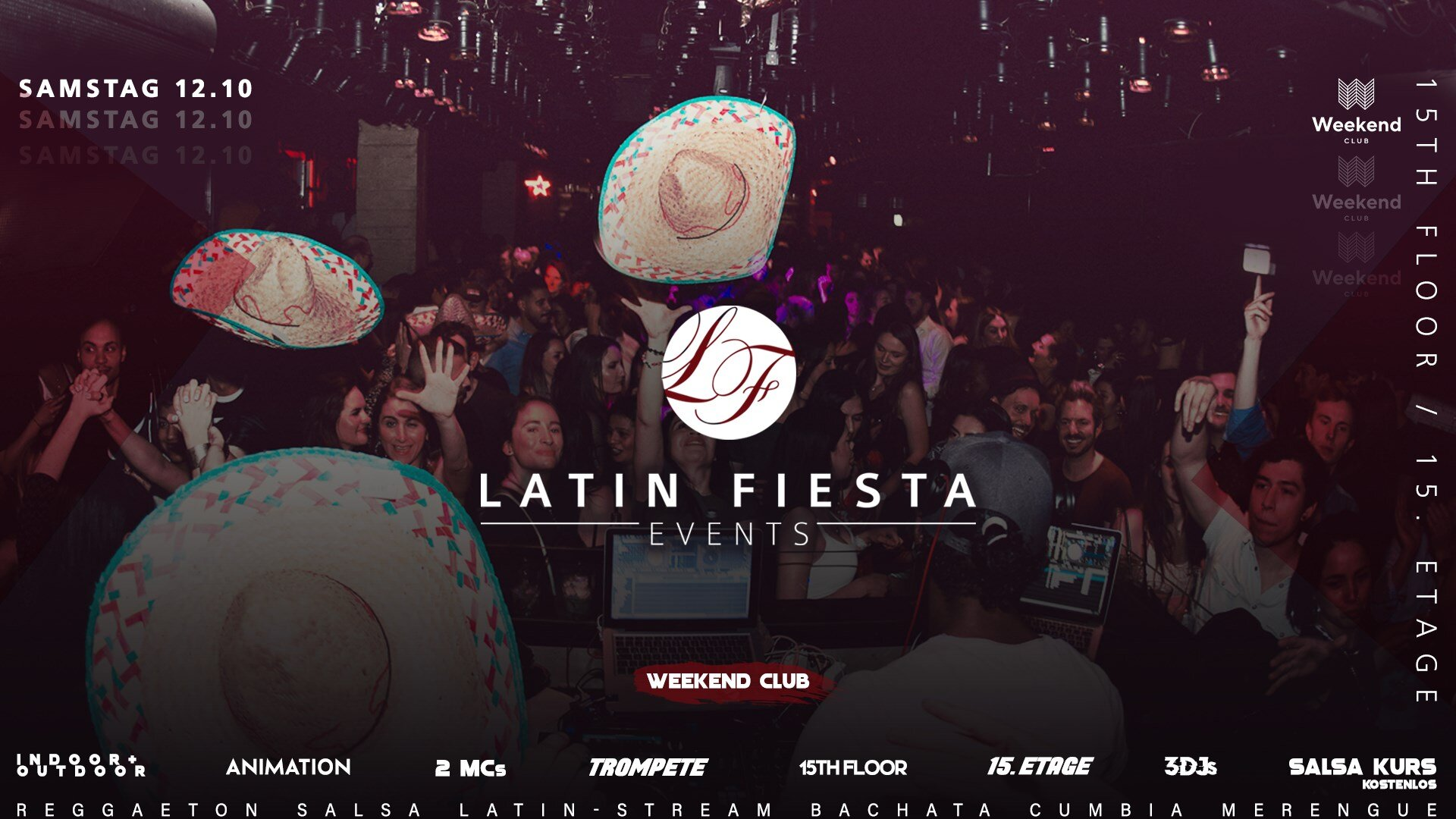 Latin Fiesta  The biggest Latin Party in Berlin returns.! Latin Fiesta- El Original shows you hot rhythms, danceable music for EVERYONE and the best view over Berlin! Only with the original you will get guaranteed authentic feeling of a whole continent. VAMOS!