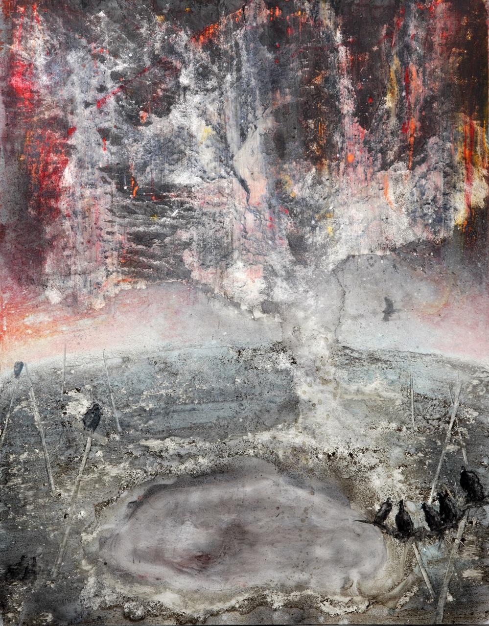 'The Falconer'  Mixed-media on canvas  200 x 255cm  2014