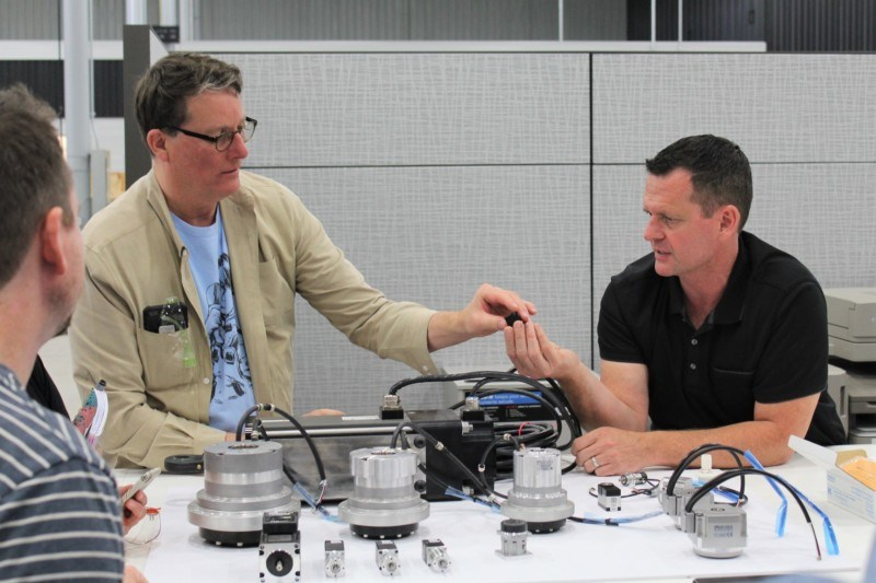 Sir Richard Taylor of WETA Workshop discusses servo actuators with Chuck for an upcoming collaboration