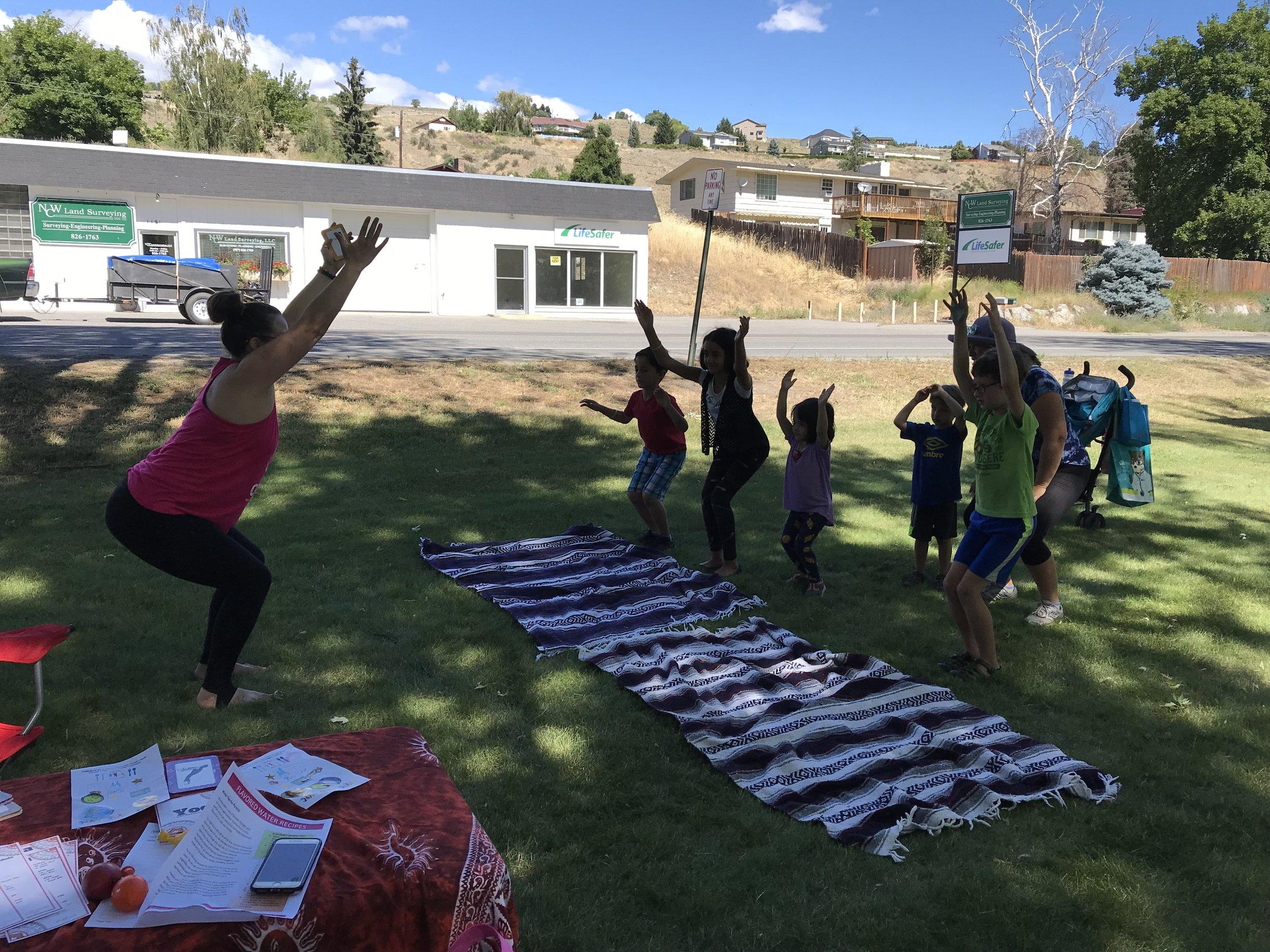Kids Yoga in the Park at the Healthy Youth Fair, Okanogan, WA
