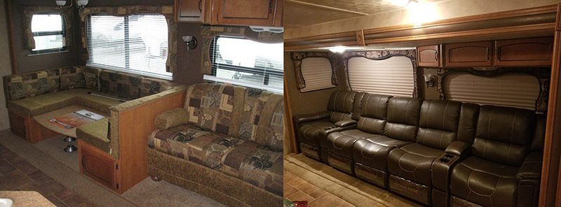 Before and after photos showing the dinette and sofa in an RV being replaced with recliners.