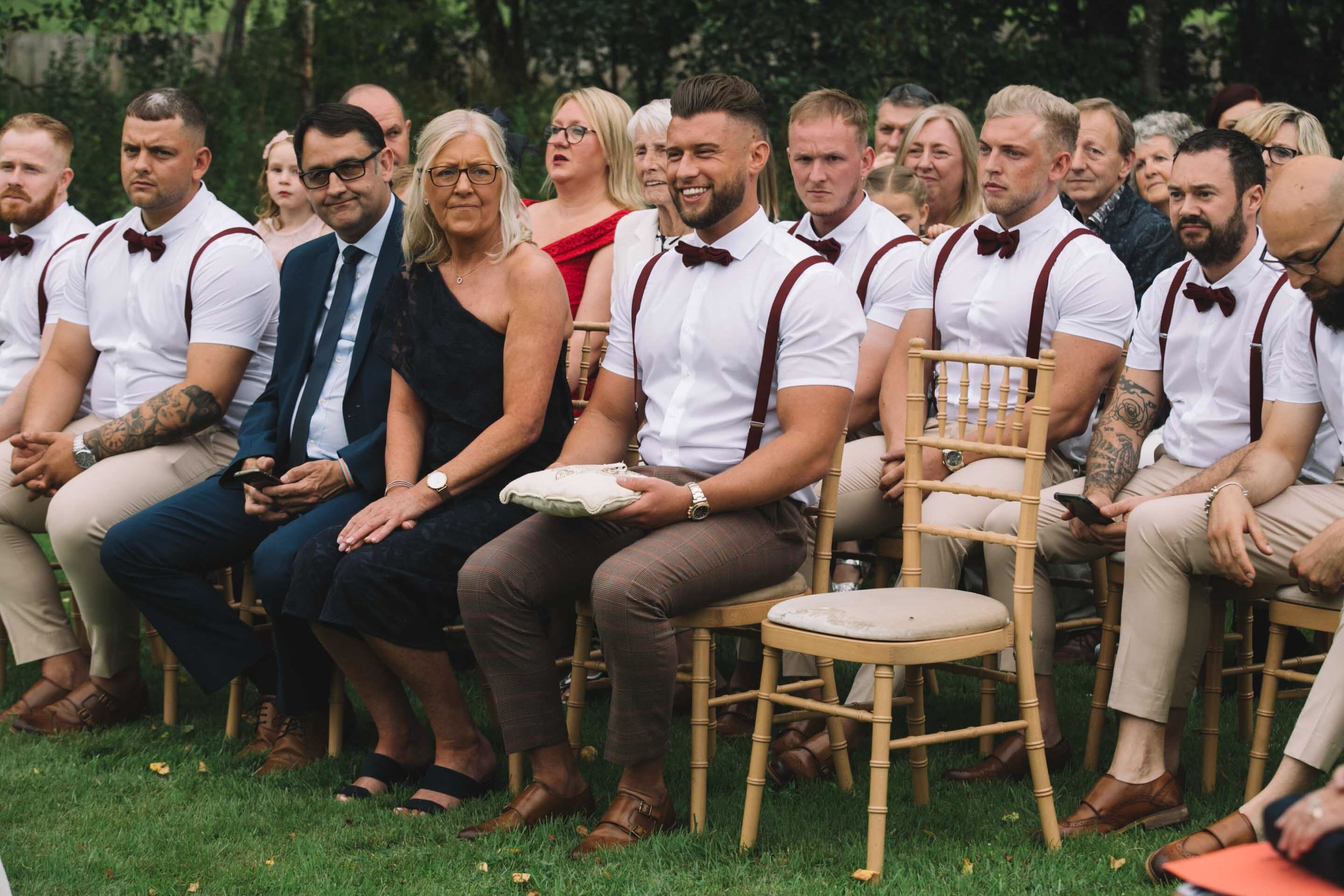 """""""Leanne and Josh will now exchange the wedding rings that you have all held during the ceremony. These rings hold all of your wishes, love and support for Josh and Leanne. Zak I really hope those rings have made their way back to you?!"""" (Zak looks confident!)"""