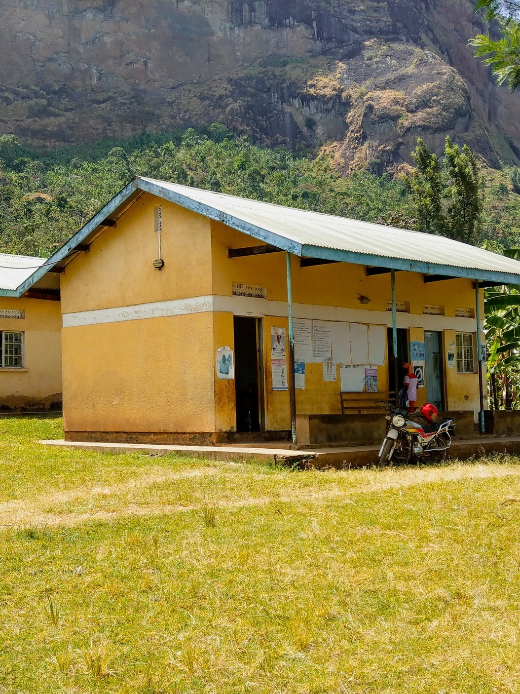 Together, they imagined what a 'future state of health care' could look like. - Left: A Health Centre Level III on the slopes of Mount Elgon.